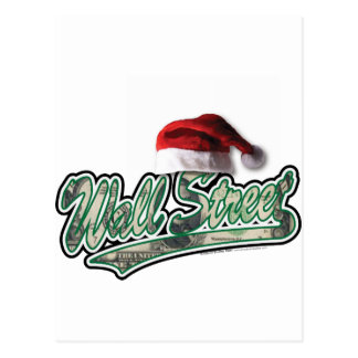 Wall Street Christmas with a Santa Hat Postcard