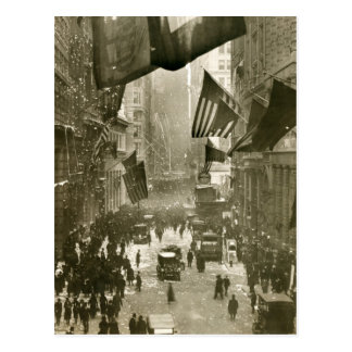 Wall Street Party end of WW1 1918 Post Cards