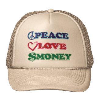 Wall Street Peace Love Money Mesh Hats