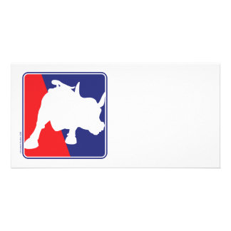 Wall Street Red White and Blue Bull Photo Greeting Card