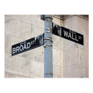 Wall Street Sign New York City Postcard
