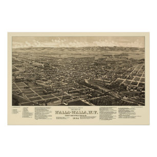 Walla Walla, WA Panoramic Map - 1884 Poster