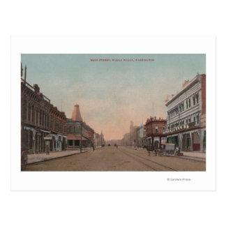 Walla Walla, WA - View of Main St. Postcard