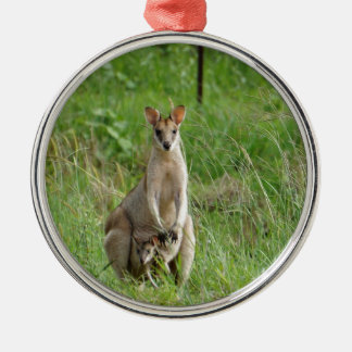 WALLABY AND JOEY RURAL QUEENSLAND AUSTRALIA Silver-Colored ROUND DECORATION