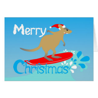 Wallaby surfs Christmas card