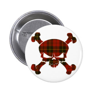 Wallace Tartan Skull No Banner 6 Cm Round Badge