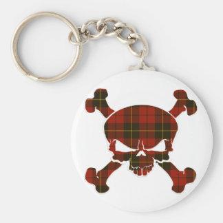 Wallace Tartan Skull No Banner Basic Round Button Key Ring