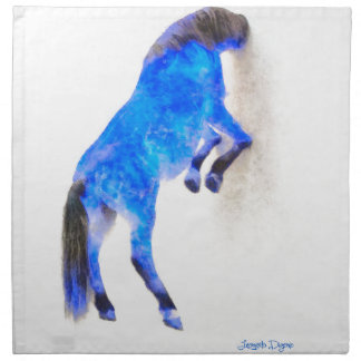 Walled Blue Horse - Watercolor over paper Napkin