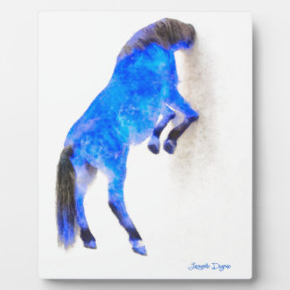 Walled Blue Horse - Watercolor over paper Plaque