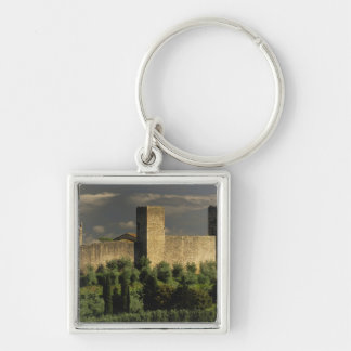 Walled city of Monteriggioni, in the province of Silver-Colored Square Key Ring