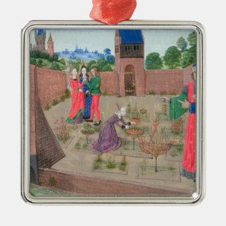 Walled garden with a woman gardening metal ornament
