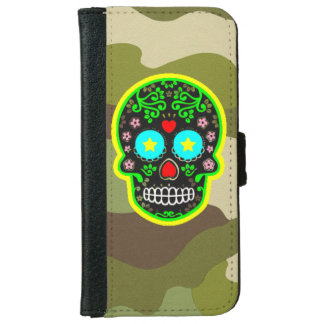 Wallet Case  camouflage mexican skull