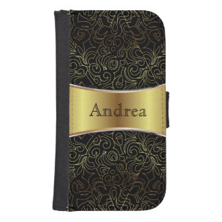 Wallet Case Samsung S4 Floral Abstract Damasks