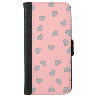 Wallet iPHONE Case SILVER MINI HEARTS ON PINK iPhone 6 Wallet Case