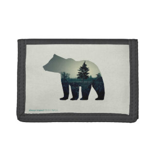 Wallet with bear icon with image of forest