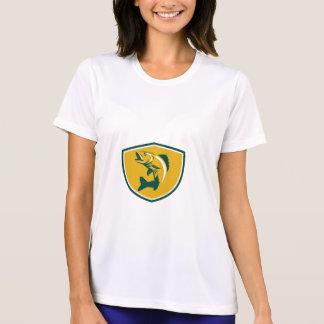 Walleye Fish Jumping Crest Retro T-Shirt