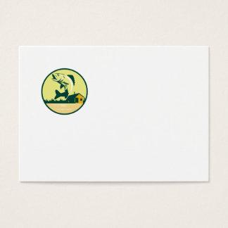 Walleye Fish Lake Lodge Cabin Circle Retro Business Card