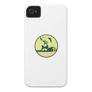 Walleye Fish Lake Lodge Cabin Circle Retro iPhone 4 Case