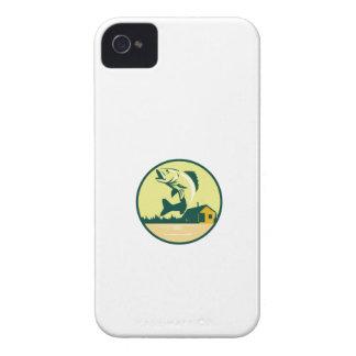Walleye Fish Lake Lodge Cabin Circle Retro iPhone 4 Covers