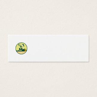 Walleye Fish Lake Lodge Cabin Circle Retro Mini Business Card
