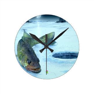 Walleye Ice Round Clock