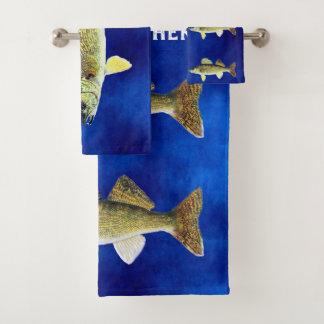 Walleye Pikes on Deep Blue Background Bath Towel Set