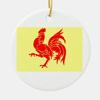 Wallon Rooster Round Ceramic Decoration