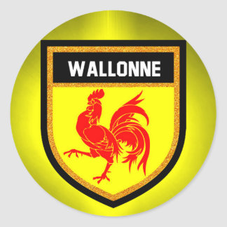 Wallonne Flag Classic Round Sticker