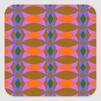 Wallpaper - retro colours square sticker