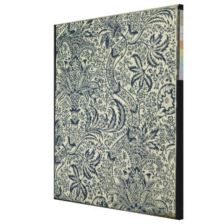 Wallpaper with navy blue seaweed style design canvas print