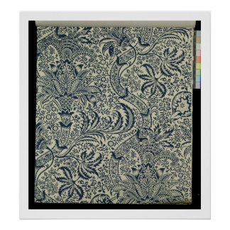 Wallpaper with navy blue seaweed style design posters
