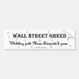 WallStreetGreedMarie Car Bumper Sticker