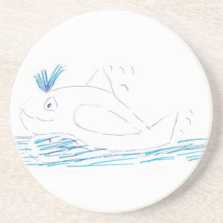 Wally whale Sandstone Coaster