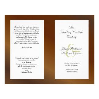 Walnut Catholic Folded Wedding Program Template 21.5 Cm X 28 Cm Flyer
