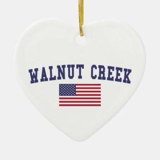 Walnut Creek US Flag Ceramic Ornament
