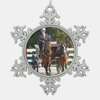 walnut hill carriage driving horse show snowflake pewter christmas ornament