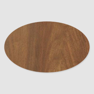 WALNUT WOOD American finish  blank blanche + TEXT Oval Sticker