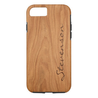 Walnut Wood Grain Look - Customize With You Name iPhone 7 Case
