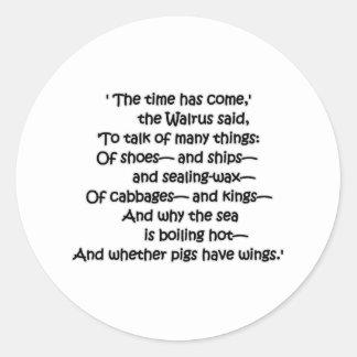 Walrus Cabbages Classic Round Sticker