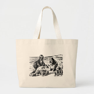 Walrus, Carpeter and Oysters Large Tote Bag
