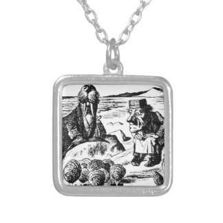 Walrus, Carpeter and Oysters Silver Plated Necklace