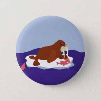 Walrus on Iceberg with Fish 6 Cm Round Badge