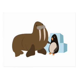 Walrus & Penguin Postcard
