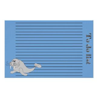 Walrus To Do List Stationery