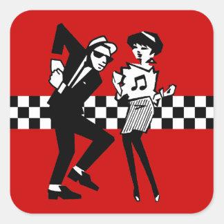 Walt Jabsco & Betty Beat in Red II Square Sticker
