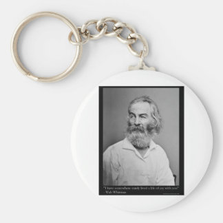 Walt Whitman Joy With You Love Quote Mugs Tees etc Basic Round Button Key Ring