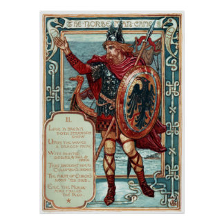 Walter Crane Columbia's Courtship The Norseman Poster