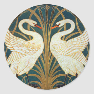 Walter Crane Swan, Rush And Iris Art Nouveau Classic Round Sticker