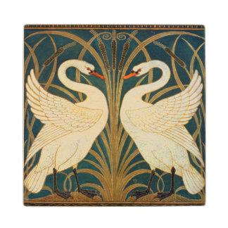 Walter Crane Swan, Rush And Iris Art Nouveau Maple Wood Coaster