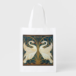 Walter Crane Swan, Rush And Iris Art Nouveau Reusable Grocery Bag